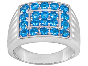 Blue Neon Apatite Sterling Silver Mens Ring 1.60ctw
