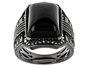 Black Onyx Black Rhodium Over Brass Men's Ring