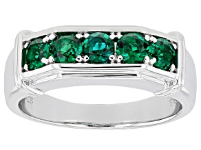 Green Lab Created Emerald Rhodium Over Sterling Silver Men's Ring 1.06ctw