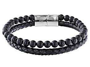Black Onyx Stainless Steel Bracelet.