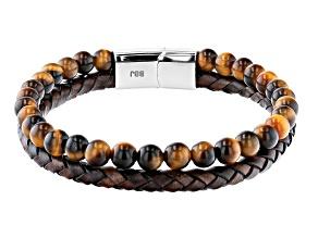Brown Tigers Eye Stainless Steel Bracelet