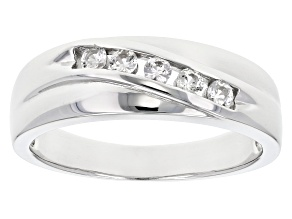 White Lab Created Sapphire Rhodium Over Sterling Silver Men's Band Ring .32ctw