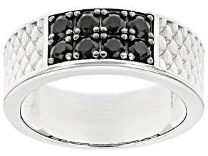 Black Spinel Rhodium Over Sterling Silver Men's Band Ring .82ctw