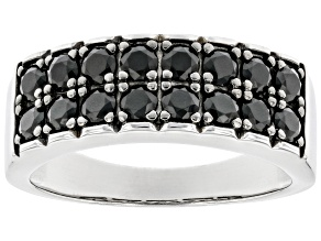 Black Spinel Rhodium Over Sterling Silver Men's Band Ring 1.63ctw
