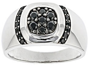 Black Spinel Rhodium Over Sterling Silver Men's Ring .48ctw
