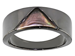 Black Mother-Of-Pearl Black Rhodium Over Sterling Silver Men's Band Ring