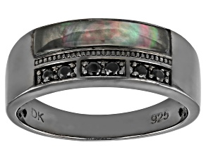 Free-form Black Mother-Of-Pearl Black Rhodium Over Silver Men's Band Ring 0.34ctw