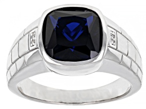 Blue Lab Created Spinel Rhodium Over Sterling Silver Men's Ring 4.69ctw