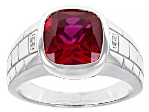Red Lab Created Ruby with White Diamond Accent Rhodium Over Sterling Silver Men's Ring 6.77ctw