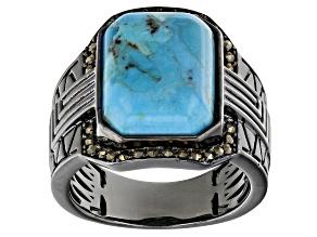 Blue Turquoise Black Rhodium Over Brass Men's Ring