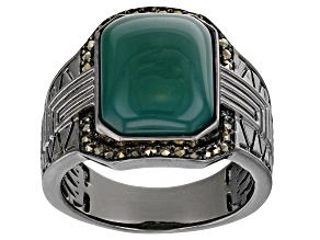 Green Onyx Black Rhodium Over Brass Men's Ring