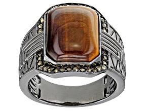 Brown Tigers Eye Black Rhodium Over Brass Men's Ring