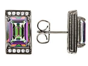 Multi-color Quartz Black Rhodium Over Brass Stud Earrings 4.88ctw