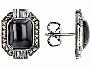 Black Onyx Black Rhodium Over Brass Men's Stud Earrings