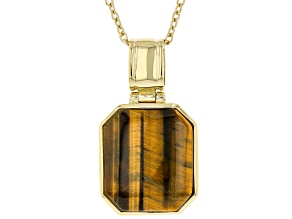 Brown Tigers Eye 18K Yellow Gold Over Sterling Silver Pendant With Chain 16x14mm