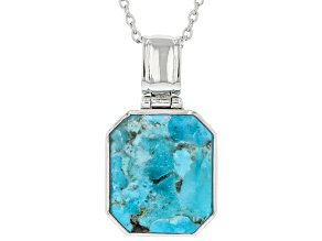 Blue Turquoise Rhodium Over Sterling Silver Pendant With Chain 16x14mm