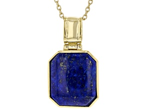 Blue Lapis Lazuli 18K Yellow Gold Over Sterling Silver Pendant With Chain 16x14mm