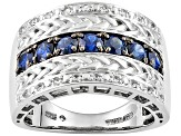 Blue Sapphire Rhodium Over Sterling Silver Mens Ring 1.58ctw