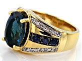 London Blue topaz 18k gold over silver gents ring 7.38ctw