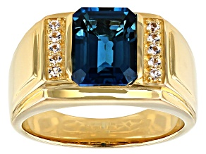 London Blue Topaz 18k Yellow Gold Over Sterling Silver Mens Ring 3.73ctw