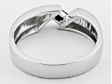 Black Spinel Sterling Silver Gents Wedding Band Ring .17ct.