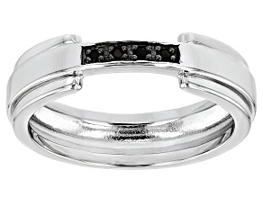 Black Spinel Sterling Silver Gents Wedding Band Ring .17ctw.