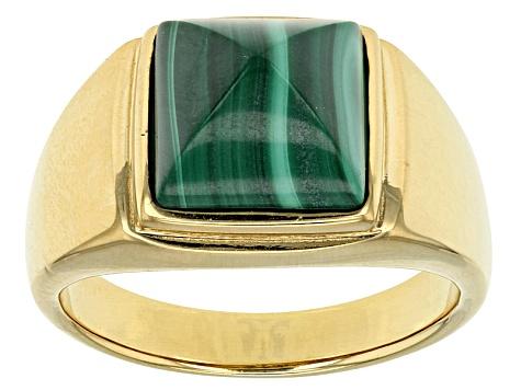36cf554f55d6c Green Malachite 18k Gold Over Silver Men's Ring
