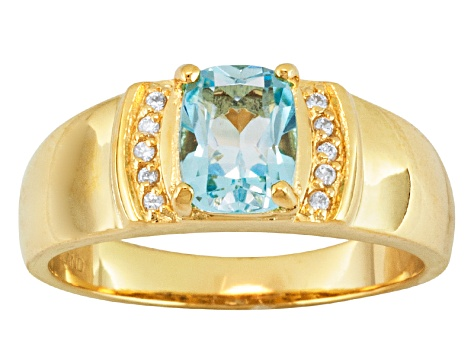Sky Blue Topaz And White Zircon 18k Gold Over Silver Mens Ring 1.43ctw