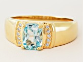 Sky Blue Topaz And White Zircon 18k Yellow Gold Over Silver Mens Ring 1.43ctw