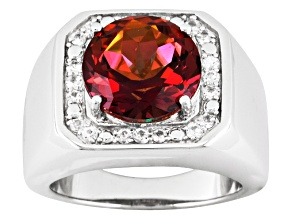 Multi Color Mystic® Topaz Sterling Silver Mens Ring 5.87ctw.
