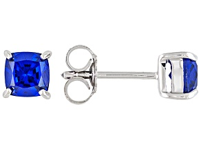 Blue Synthetic Spinel Sterling Silver Stud Earrings 1.19ctw.