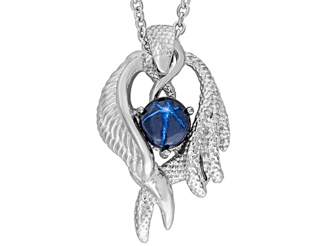 Blue star sapphire sterling silver mens pendant with chain 221ctw blue star sapphire sterling silver mens pendant with chain 221ctw mozeypictures Choice Image