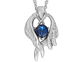 Blue Star Sapphire Rhodium Over Sterling Silver Mens Pendant With Chain 2.21ctw.