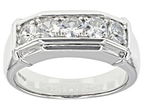 White Zircon Rhodium Over Sterling Silver Mens Ring 1.60ctw.