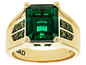 Green lab created emerald 18k gold over silver gent's ring 4.32ctw