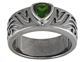 Green Russian Chrome Diopside Sterling Silver Mens Ring .70ctw.