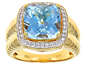 Sky blue topaz 18k yellow gold over silver gents ring 8.50ctw