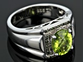 Green Peridot Sterling Silver Mens Ring 2.36ctw.