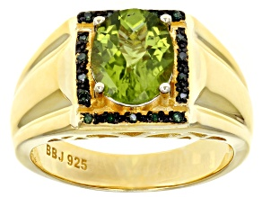 Green peridot 18k yellow gold over silver ring 2.77ctw