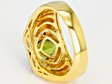 Green peridot 18k yellow gold over silver men's ring 2.77ctw