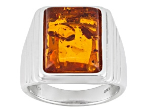 Brown Amber Sterling Silver Mens Solitaire Ring.