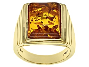 Orange amber 18k gold over silver gent's ring