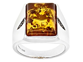 Brown Amber Rhodium Over Sterling Silver Mens Ring .03ctw.