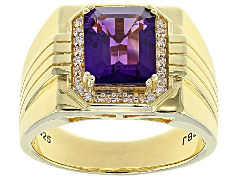Purple Uruguayan Amethyst 18k Gold Over Silver Gent's Ring 2.84ctw