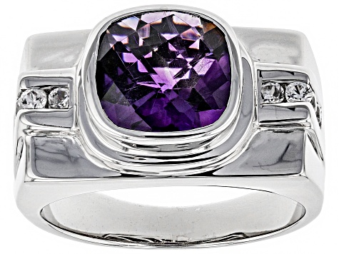 Purple African Amethyst Sterling Silver Mens Ring 3.72ctw.
