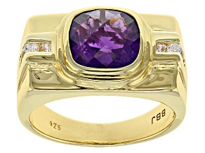 Purple amethyst 18k gold over silver gent's ring 3.80ctw