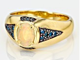 Ethiopian opal 18k gold over silver gent's ring .72ctw