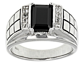 Black Spinel Sterling Silver Mens Ring 2.82ctw.