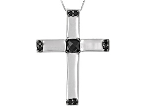 Black Spinel Sterling Silver Mens Cross Pendant With Chain 2.03ctw.