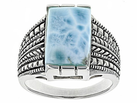 Blue larimar sterling silver mens ring.
